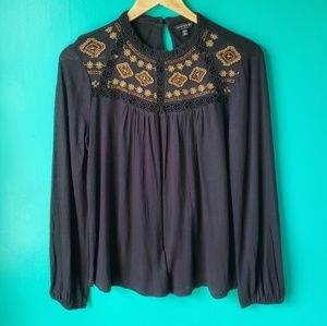 Lucky Brand Embroidered Black Long Sleeve Top
